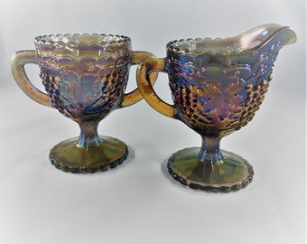 Imperial Glass Contemporary Carnival Breakfast Set - Iridescent Smoke Peacock Color - Creamer and Sugar Bowl
