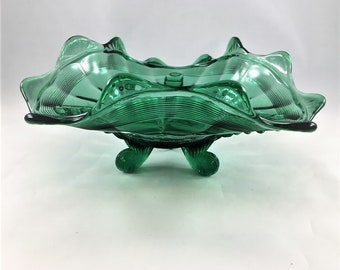 Northwood Klondyke Pattern - Card Receiver - Teal Green - Three Toed Bowl - Bonbon Dish - Early American Pattern Glass - Victorian Era Glass