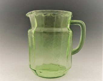 Hocking Cameo Green Pitcher - Uranium Glass Dancing Girl - Ballerina Pitcher