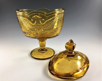 Vintage Amber Candy Dish With Lid - L.E. Smith Heritage - Eagle and Stars Pattern - Smith Eagle 4504