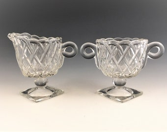 Vintage Indiana Glass Breakfast Set - Pretzel Pattern #622 - Creamer and Open Sugar Bowl