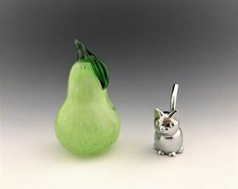 Green Glass Pear - Art Glass Fruit