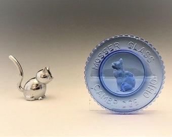 Vintage Mosser Light Blue Glass Cat Cup Plate - Hard to Find