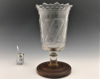 EAPG Celery Vase - Adams and Company Prayer Rug (AKA) Pattern - Wooden Base Make Do Piece - Early American Pattern Glass - Circa 1881