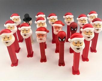 Vintage PEZ Dispensers - 15 Santa Clause PEZ Dispensers - Spiderman Pez - Snowman Pez - Holiday Pez