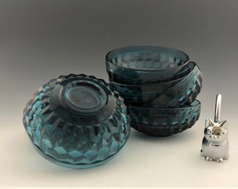 Set of 7 Whitehall Bowls - Riviera Blue - Small Fruit Bowls - Lancaster Colony