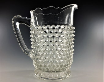EAPG Pitcher - Doyle and Company No. 150 (OMN) - AKA Hobnail With Thumbprint Base - Circa 1880 - Early American Pattern Glass