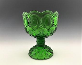 Kanawha Glass Emerald Green Moon and Stars Compote