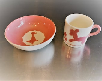 Continental Kilns Child's Cup/Mug and Bowl - Vintage Ceramic - Lamb and Duck