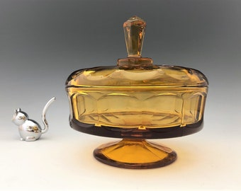 Viking Glass Epic No. 6710 Footed Candy Box and Cover - Mid Century Glass