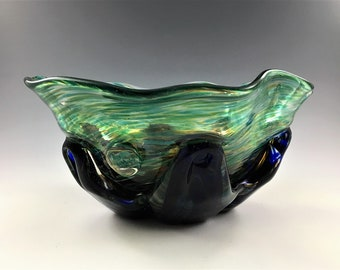 Exquisite Art Glass Bowl - Sabina Glass Studio - Poland - Signed by Henryk Rysz