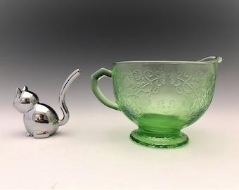 Hazel Atlas Florentine 1 Pattern - Creamer - Green Depression Glass Cream Pitcher - Glowing Uranium Glass