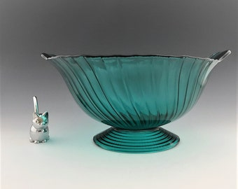 Jeannette Glass - Ultramarine Swirl Patter - 10 Inch Footed Bowl - Depression Era Glass Bowl