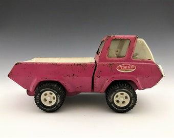 Vintage Tonka Pink Pick-Up Truck - Old Push Toy