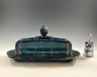 Indiana Glass Covered Butter Dish - Iridescent Blue - Harvest Carnival Pattern - Contemporary Carnival Glass