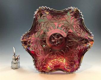 Fenton Carolina Dogwood Iridescent Red Carnival Glass Bowl - Hard to Find Color