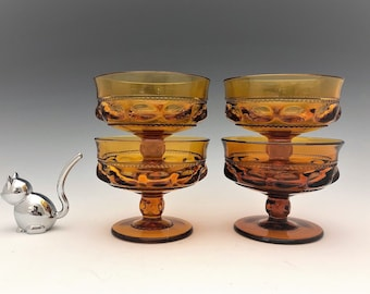 Set of 4 Indiana Glass King's Crown Champagne/Tall Sherbets - Vintage Amber Glass