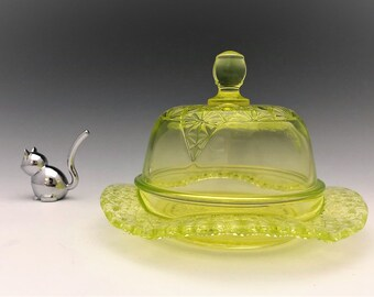 Vaseline Glass Covered Butter Dish - McKee Queen Pattern - Mosser Glass - Glowing Glass Butter Dish