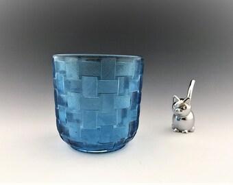Beautiful Blue EAPG - Co-Operative Flint Glass Company - No. 110 Basketweave - Waste Bowl - Circa 1887