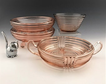 "Anchor Hocking Manhattan Pink - Candy Bowls and ""Go-With"" Pieces - Set of 4"