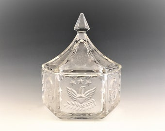 Vintage Indiana Glass Colonial Covered Candy Dish - Tiara Exclusive - Eagle and Star Motif