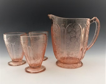 "Vintage Pink Glass Pitcher -Blush Glass - 1970's Jeannette ""Cherry Blossom"" Pitcher and 3 Footed Tumblers"