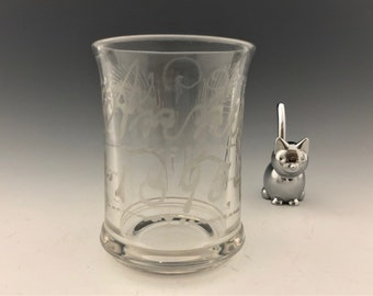 "EAPG Tumbler - Unknown Maker - Etched ""Annie"" and ""1895"" - Early American Pattern Glass - Circa 1895"