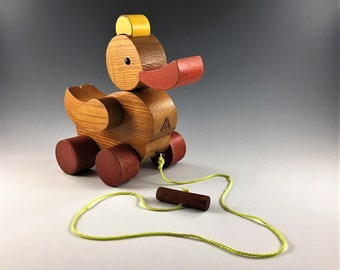 Vintage HABA Wooden Duck Pull Toy - Made in Germany