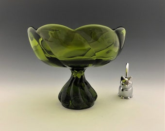 Viking Epic Twist Compote (1523) - Vintage Green Compote - Mid Century Glass - MCM Decor
