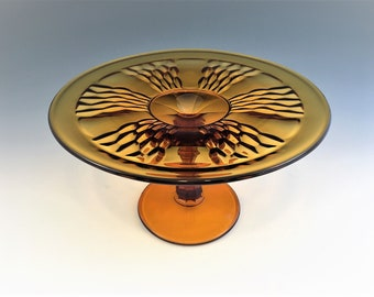 Amber Glass Cheese Stand - Indiana Glass #372 - Footed Glass Stand - Paneled Honeycomb Pattern