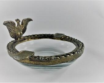 Vintage Glass and Brass Eagle Ashtray - Smoke Like a Patriot - E Pluribus Smoking - Mid Century Ashtray - MCM Decor