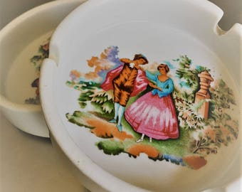 Uncommon Pair of Vintage Ashtrays - French Limoges Style - Victorian Courting Scene