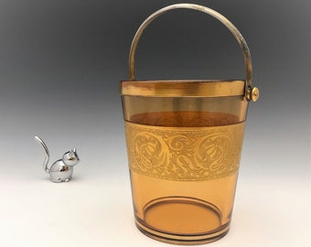 Fostoria Amber Ice Bucket - Elegant Glass With Golder Etch