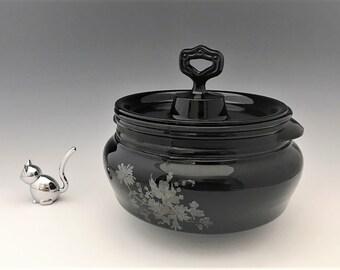 L.E. Smith Mt. Pleasant Bean Pot and Cover - Black Depression Era Glass