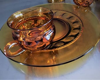 Indiana Glass King's Crown Amber Luncheon Plates and Cups - Thumbprint Design - Set of Two Plates and Two Cups