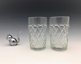 Indiana Glass #622 Pretzel Pattern - 9 Ounce Tumblers - Set of 2 - Hard to Find