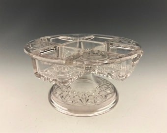 EAPG Castor or Condiment Bottle Holder -  Elson Glass Company - Royal Pattern  - Early American Pattern Glass - Circa 1884