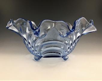 Cambridge Glass Caprice Pattern - 3-Toed 12-Inch Crimped Bowl - Elegant Depression Era Glass