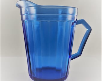Vintage Hazel Atlas Creamer - Aurora Cobalt Blue - Cream or Milk Pitcher - Blue Depression Glass