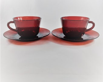 Set of 2 Vintage Ruby Red Coffee Cups and Saucers - Anchor Hocking Royal Ruby