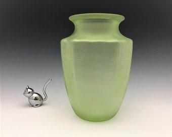 Hocking Glass Princess Pattern - Satin Finish Vase - Green Depression Glass Vase - Glowing Uranium Glass