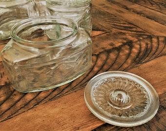 Set of 4 Vintage 1930's Scurlock Kontanerette Glass Canisters -  Refrigerator Jars - Classic Kitchen Storage