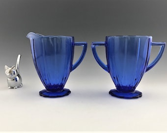 Hazel Atlas Newport Cobalt Blue - Breakfast Set - Hairpin Pattern - Creamer and Sugar Bowl - Cobalt Depression Glass
