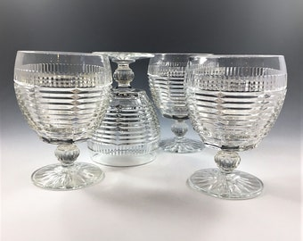 Stunning Art Deco Style Goblets - Set of Four - Footed Tumblers - Hocking Manhattan Go-With