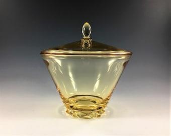 Fostoria #2430 Diadem Covered Candy - Depression Era Glass Candy Dish - Vintage Topaz/Yellow Glass - Elegant Glass