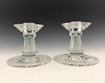 Set of 2 Fostoria 2560 1/2 Coronet Candlesticks With #333 Willowmere Etch - Depression Era Glass