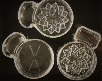 Large Collection of 23 Glass Coasters with Spoon Rests or Ashtrays - Fostoria and Imperial Glass - Smoker Coaster