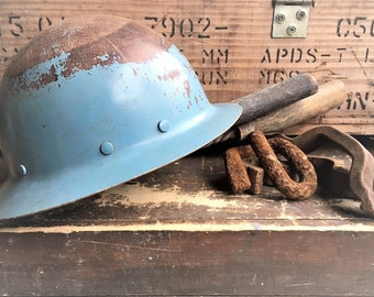 Vintage Fiberglass Miner's Helmet - California Blue Mining Helmet - Interior Headband and Harness