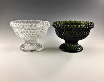 Set of Two Brooke Glass Fairy Light Bases - 2 Lamp Bases - Hobnail Candle Lamp #700 - Avocado and Clear Glass