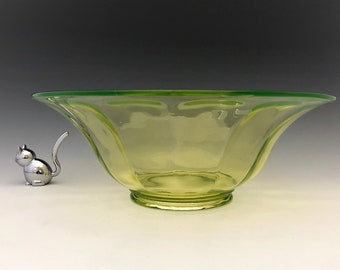 Imperial Vaseline Glass Wide Panel Bowl - No 6569/2B - Large Console Bowl - Glowing Glass Bowl